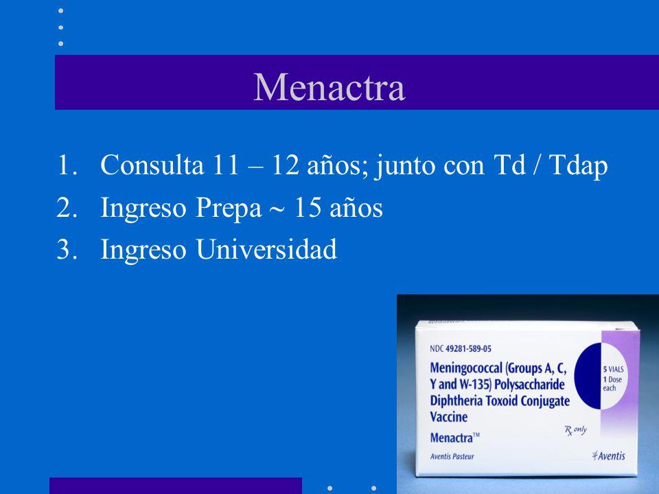 Menactra Consulta 11 – 12 años; junto con Td / Tdap