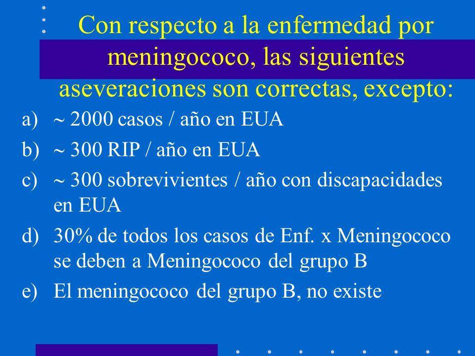 Con respecto a la enfermedad por meningococo, las siguientes aseveraciones son correctas, excepto: