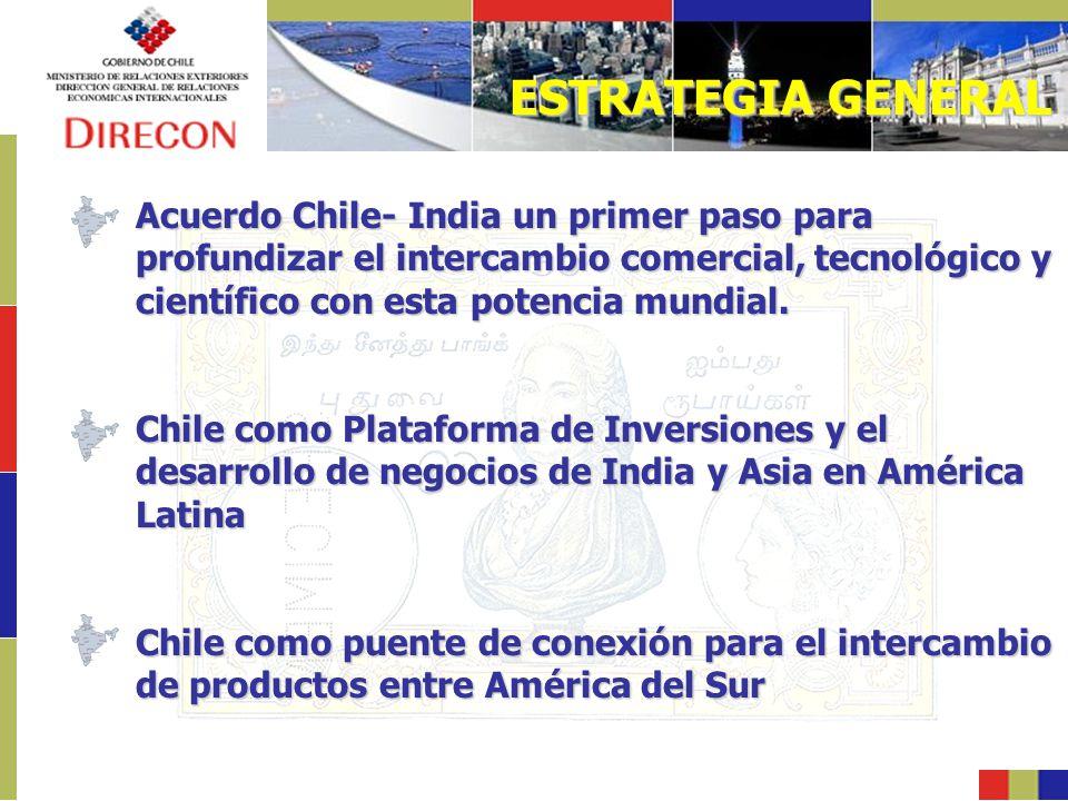 ESTRATEGIA GENERAL Acuerdo Chile- India un primer paso para profundizar el intercambio comercial, tecnológico y científico con esta potencia mundial.