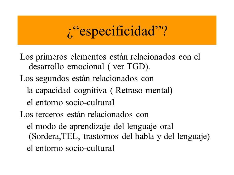 ¿ especificidad Los primeros elementos están relacionados con el desarrollo emocional ( ver TGD).