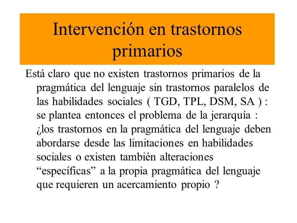 Intervención en trastornos primarios