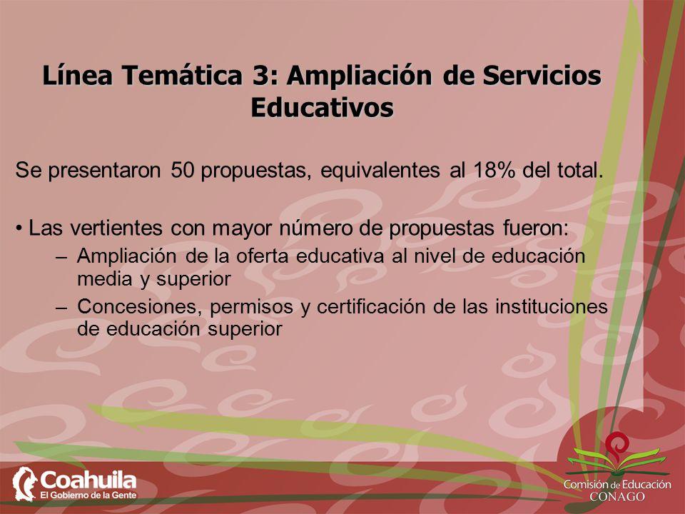 Línea Temática 3: Ampliación de Servicios Educativos