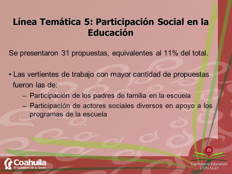 Línea Temática 5: Participación Social en la Educación