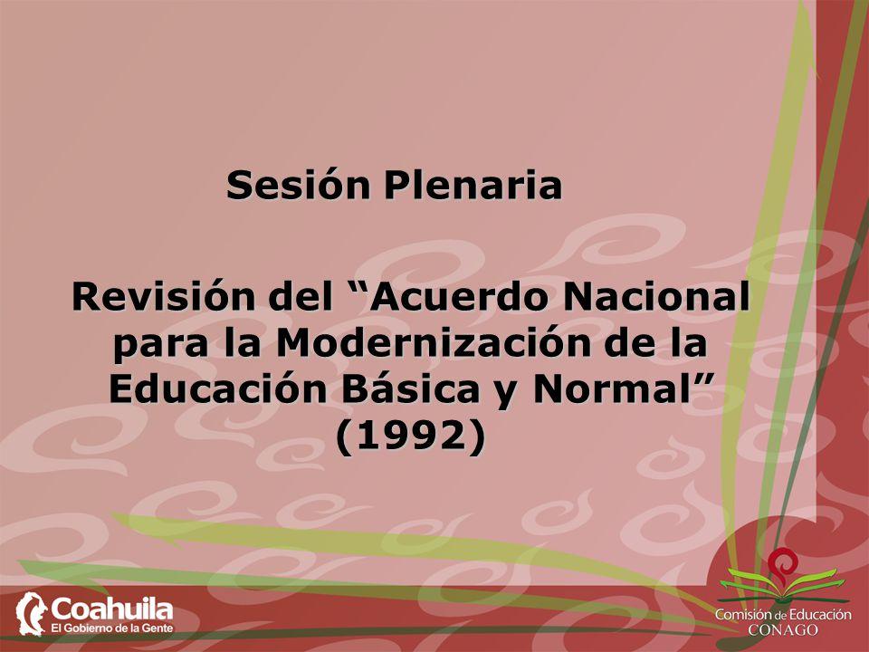 Sesión Plenaria Revisión del Acuerdo Nacional para la Modernización de la Educación Básica y Normal (1992)