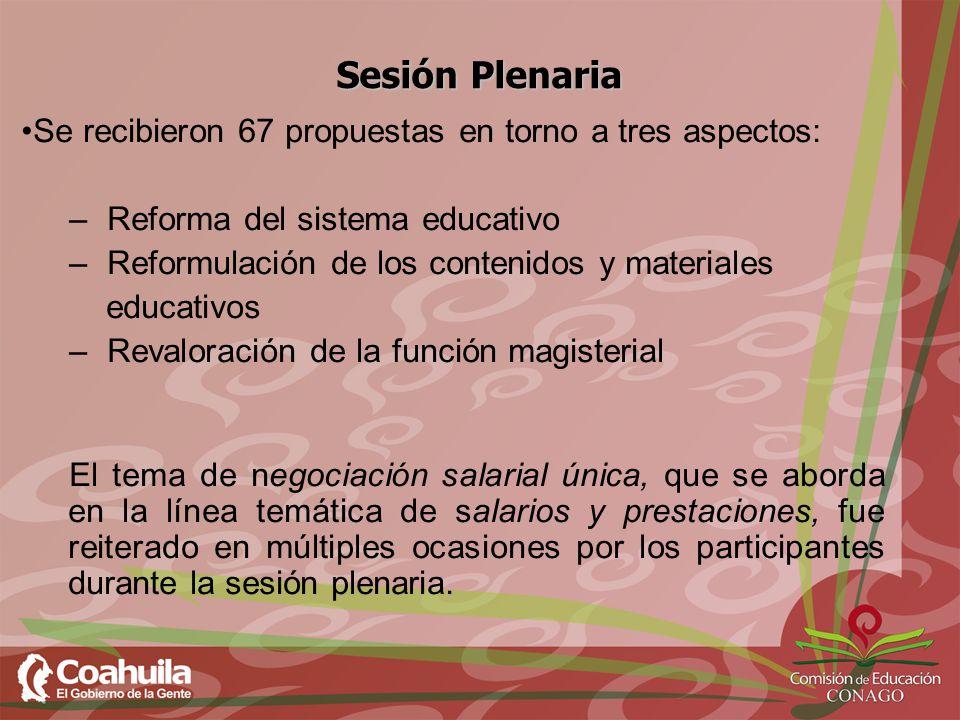 Sesión Plenaria Se recibieron 67 propuestas en torno a tres aspectos: