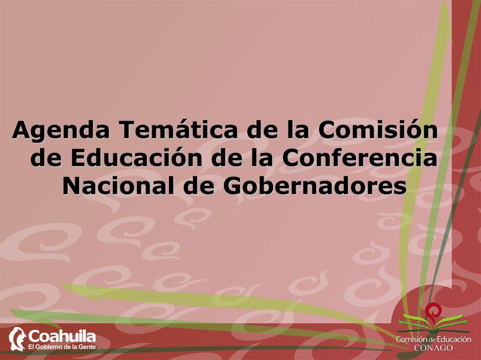 Agenda Temática de la Comisión de Educación de la Conferencia Nacional de Gobernadores