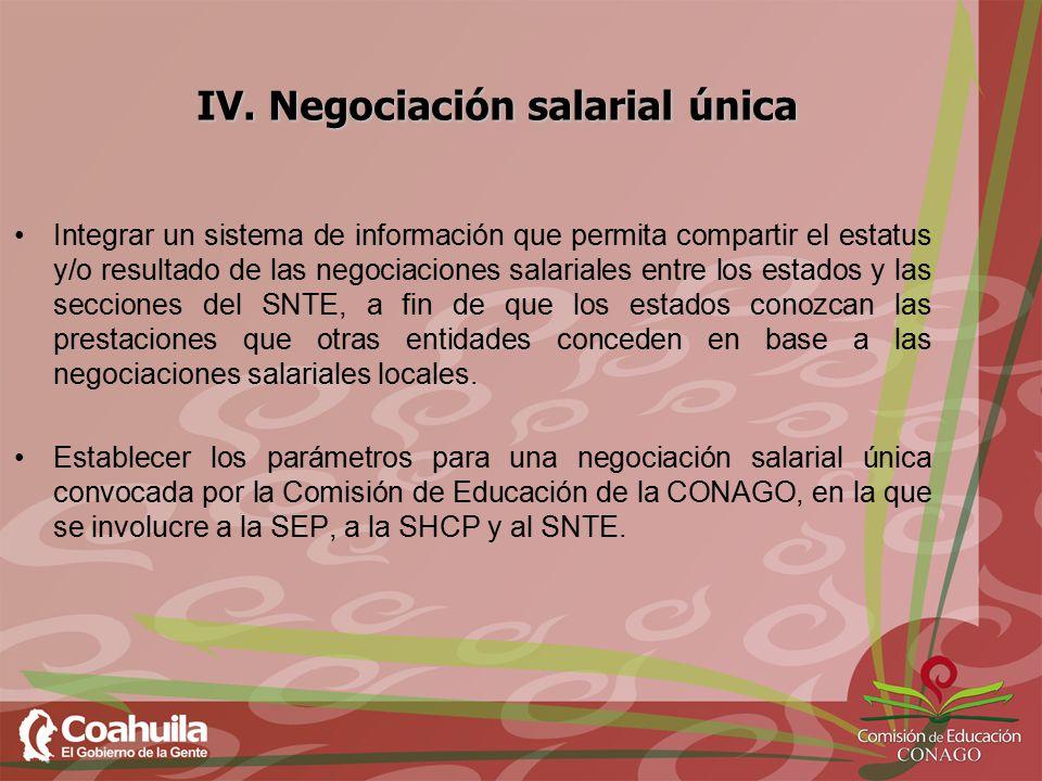 IV. Negociación salarial única