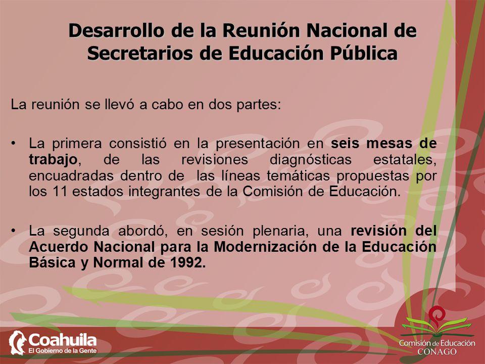Desarrollo de la Reunión Nacional de Secretarios de Educación Pública