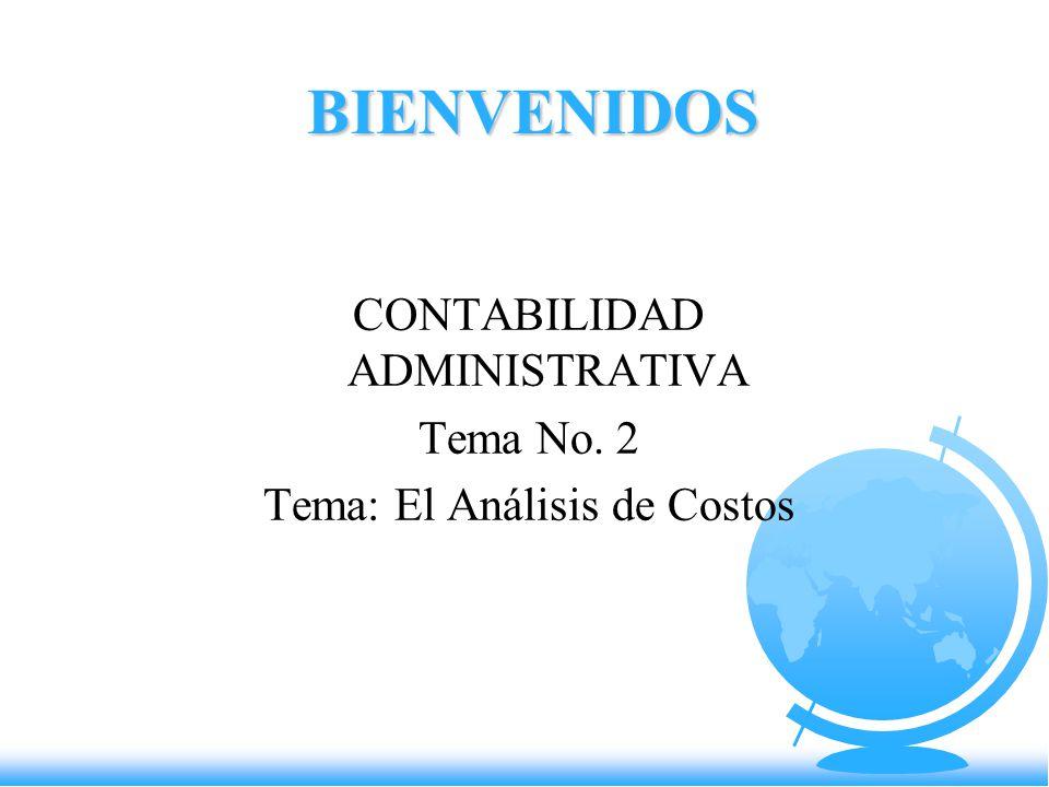 CONTABILIDAD ADMINISTRATIVA Tema No. 2 Tema: El Análisis de Costos