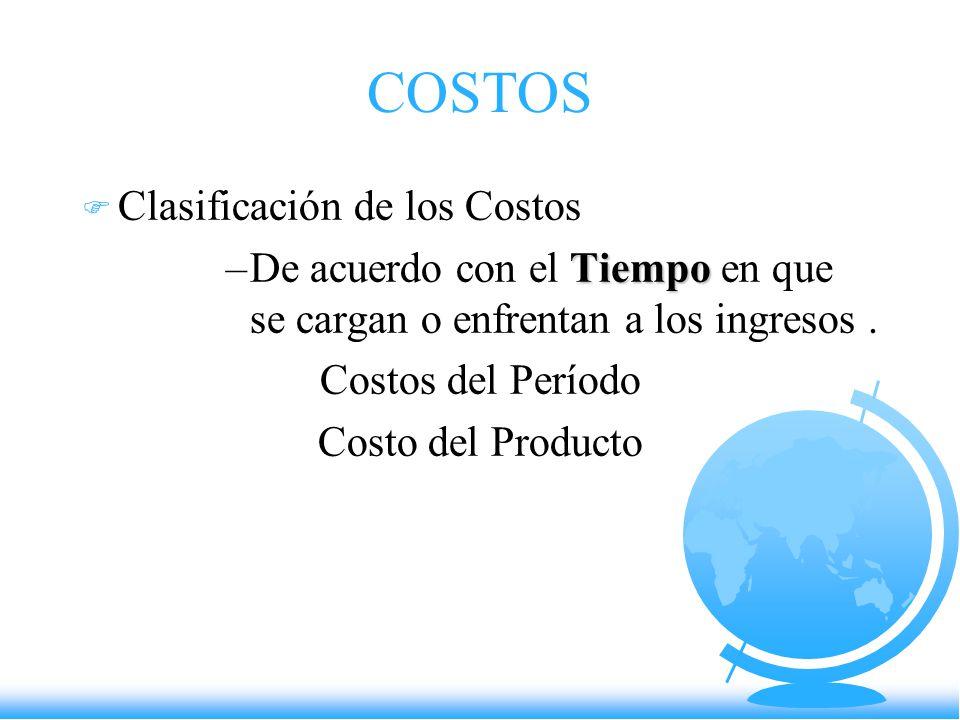 COSTOS Clasificación de los Costos