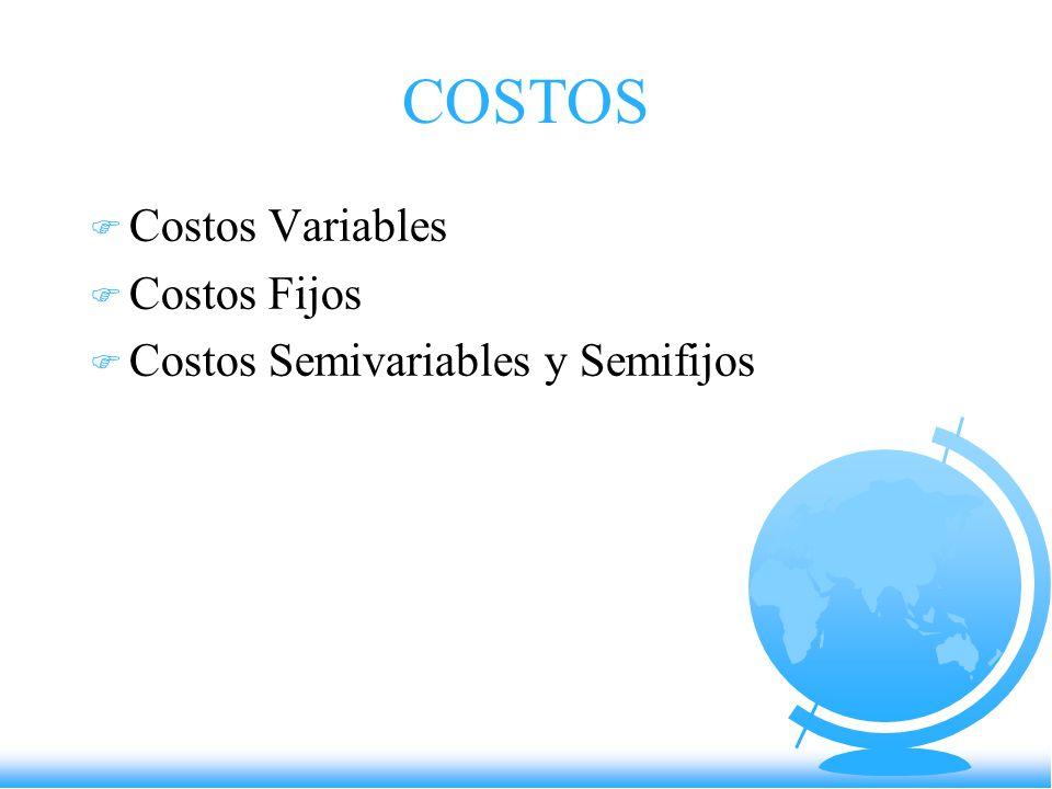 COSTOS Costos Variables Costos Fijos Costos Semivariables y Semifijos