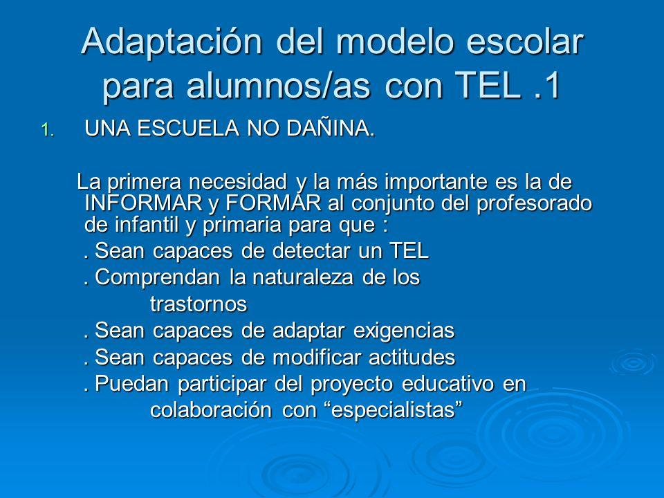 Adaptación del modelo escolar para alumnos/as con TEL .1