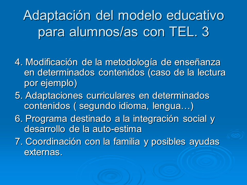 Adaptación del modelo educativo para alumnos/as con TEL. 3