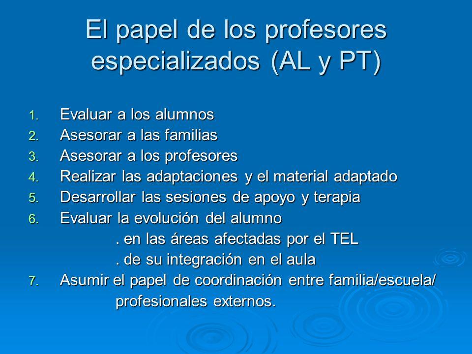 El papel de los profesores especializados (AL y PT)