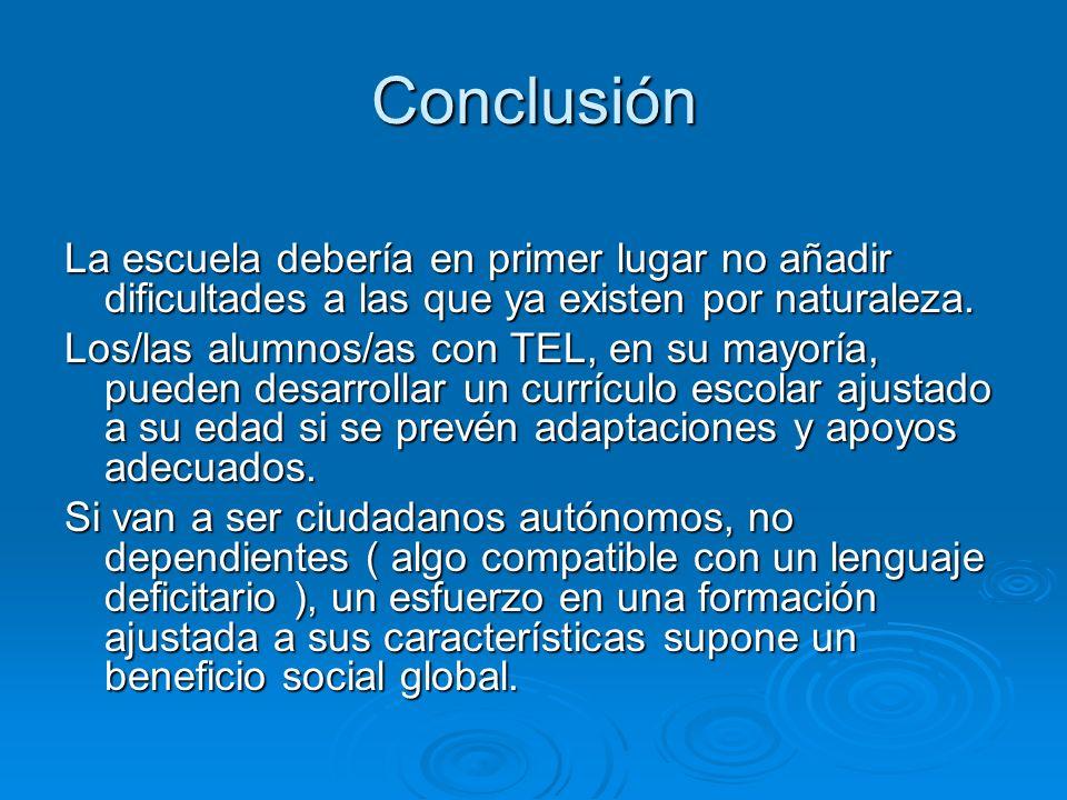 Conclusión La escuela debería en primer lugar no añadir dificultades a las que ya existen por naturaleza.