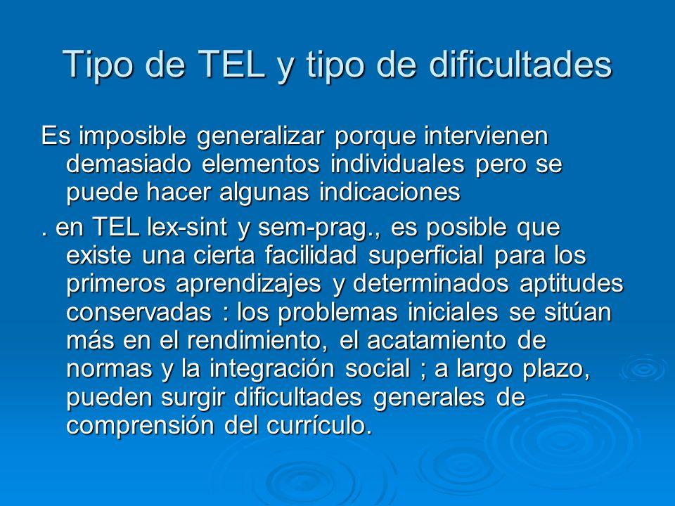 Tipo de TEL y tipo de dificultades