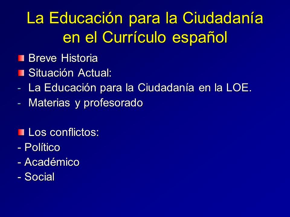 La Educación para la Ciudadanía en el Currículo español