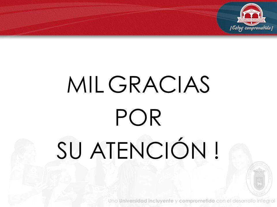 MIL GRACIAS POR SU ATENCIÓN !