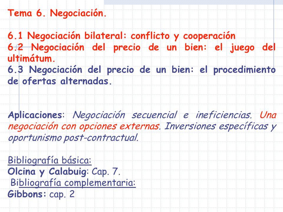 Tema 6. Negociación. 6.1 Negociación bilateral: conflicto y cooperación. 6.2 Negociación del precio de un bien: el juego del ultimátum.