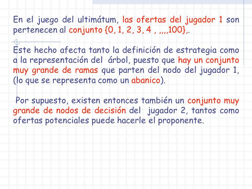 En el juego del ultimátum, las ofertas del jugador 1 son pertenecen al conjunto {0, 1, 2, 3, 4 , ,,,,100},.