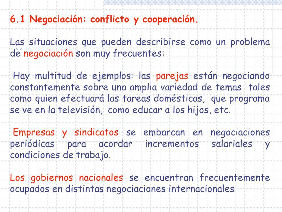 6.1 Negociación: conflicto y cooperación.
