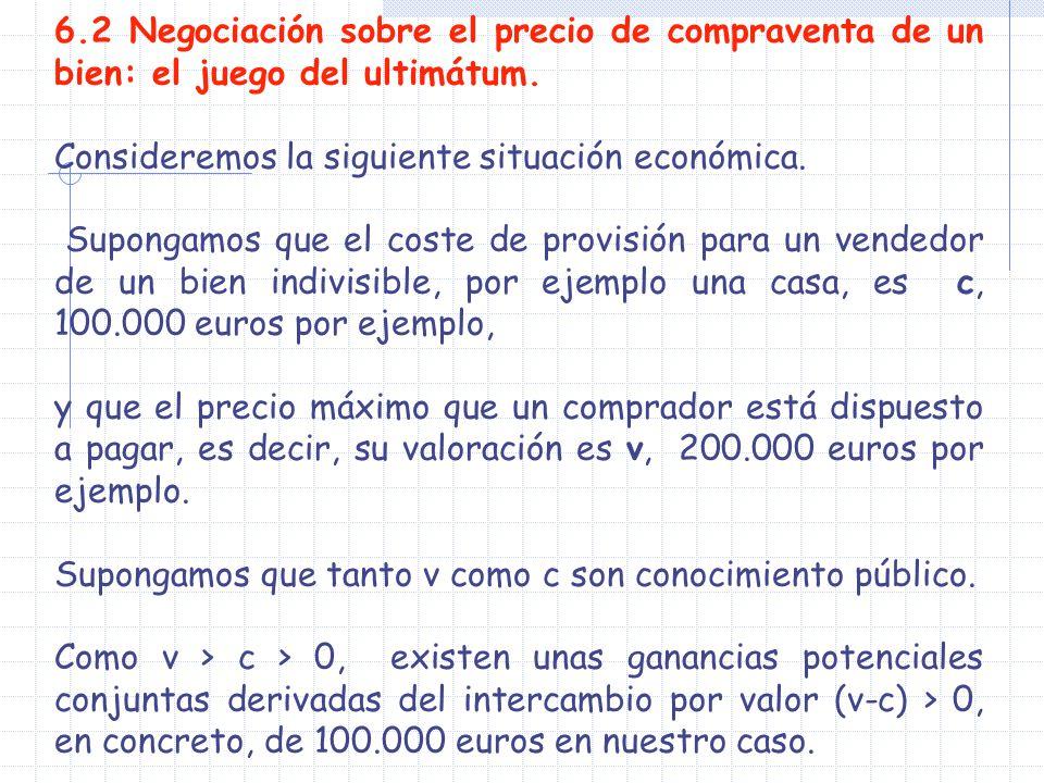 6.2 Negociación sobre el precio de compraventa de un bien: el juego del ultimátum.