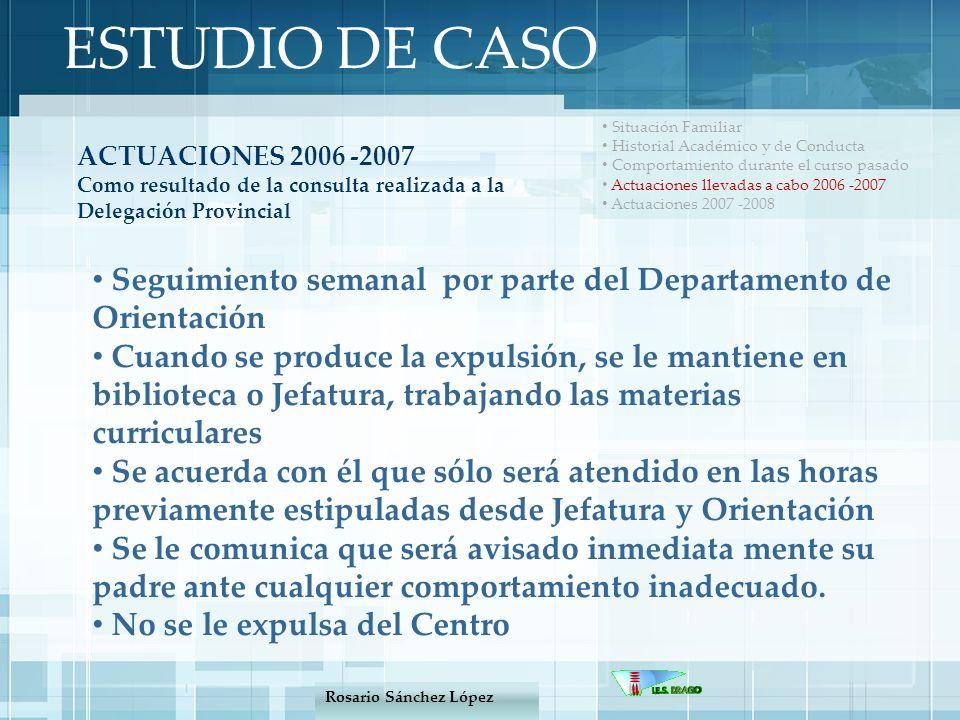 ESTUDIO DE CASO Situación Familiar. Historial Académico y de Conducta. Comportamiento durante el curso pasado.