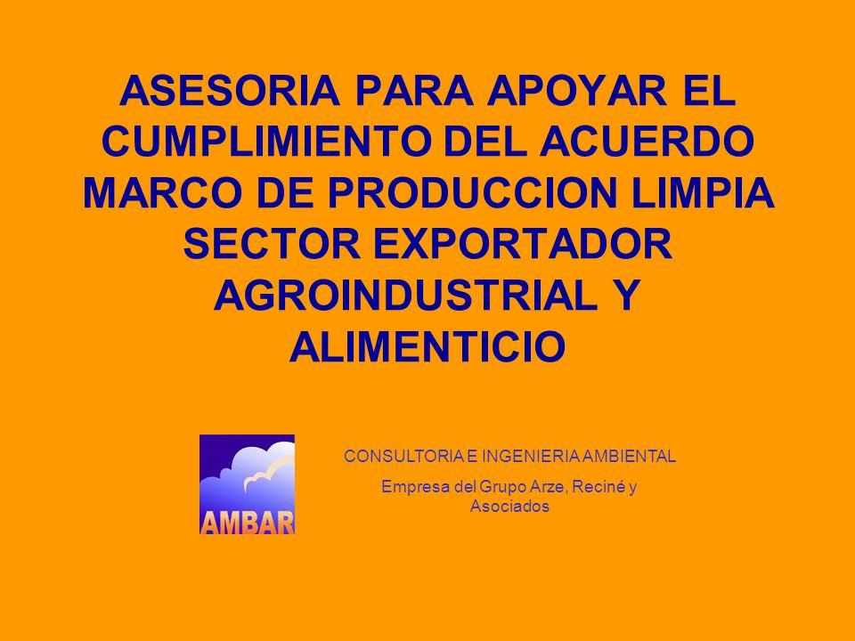 ASESORIA PARA APOYAR EL CUMPLIMIENTO DEL ACUERDO MARCO DE PRODUCCION LIMPIA SECTOR EXPORTADOR AGROINDUSTRIAL Y ALIMENTICIO