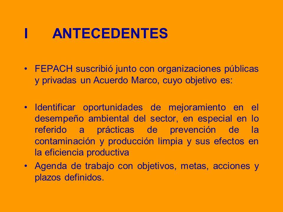 I ANTECEDENTES FEPACH suscribió junto con organizaciones públicas y privadas un Acuerdo Marco, cuyo objetivo es: