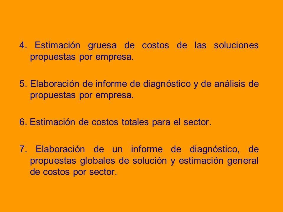 4. Estimación gruesa de costos de las soluciones propuestas por empresa.