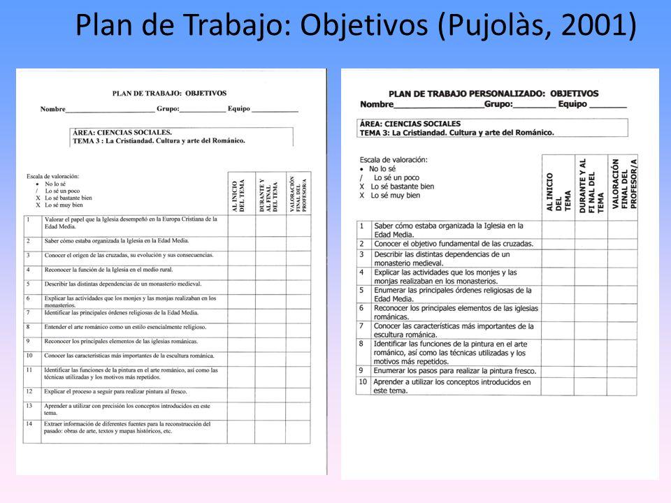 Plan de Trabajo: Objetivos (Pujolàs, 2001)
