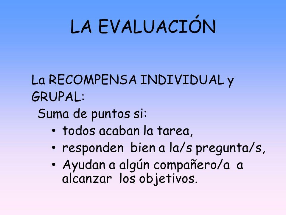 LA EVALUACIÓN La RECOMPENSA INDIVIDUAL y GRUPAL: Suma de puntos si: