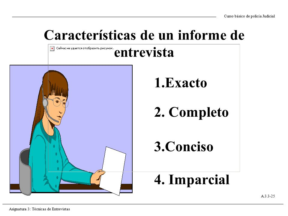 Características de un informe de entrevista