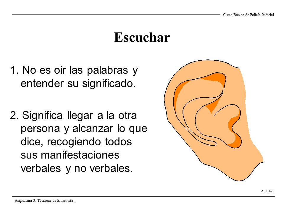 Escuchar 1. No es oir las palabras y entender su significado.