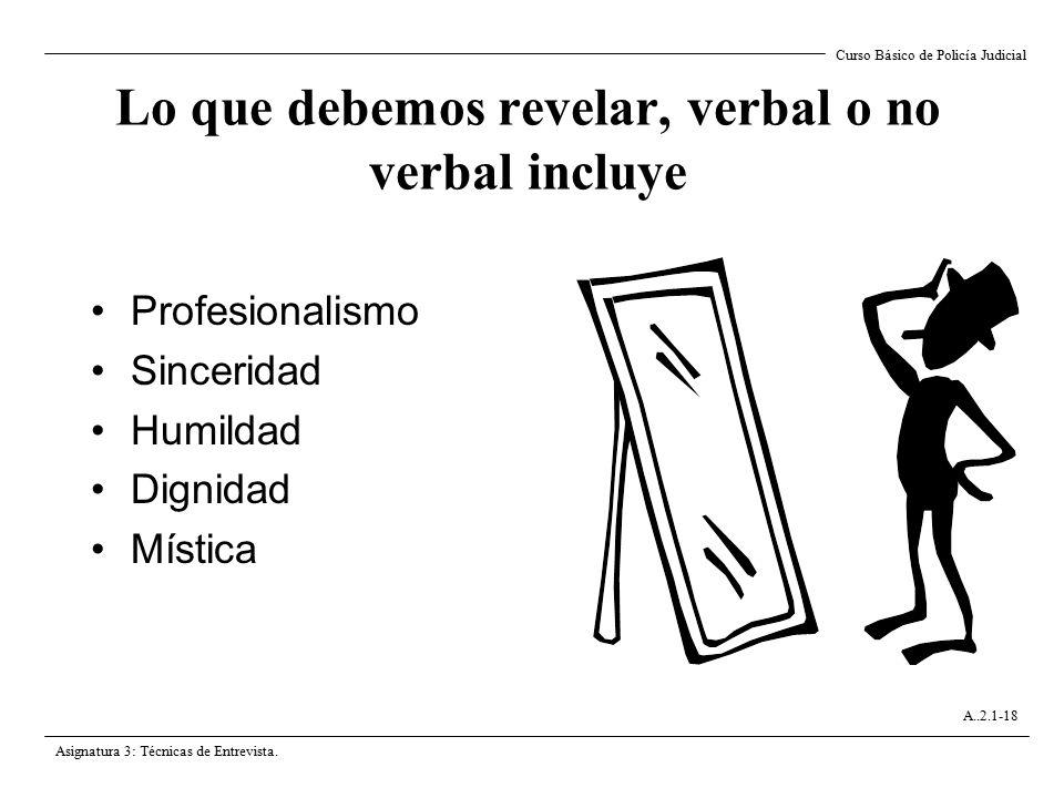Lo que debemos revelar, verbal o no verbal incluye