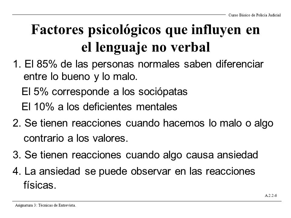 Factores psicológicos que influyen en el lenguaje no verbal