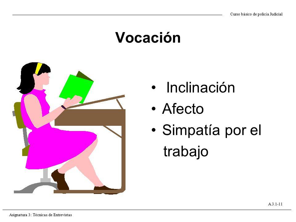 Vocación Inclinación Afecto Simpatía por el trabajo