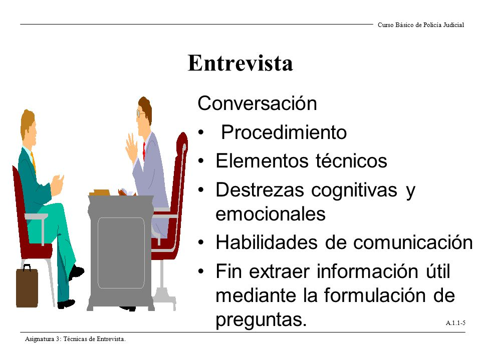 Entrevista Conversación Procedimiento Elementos técnicos