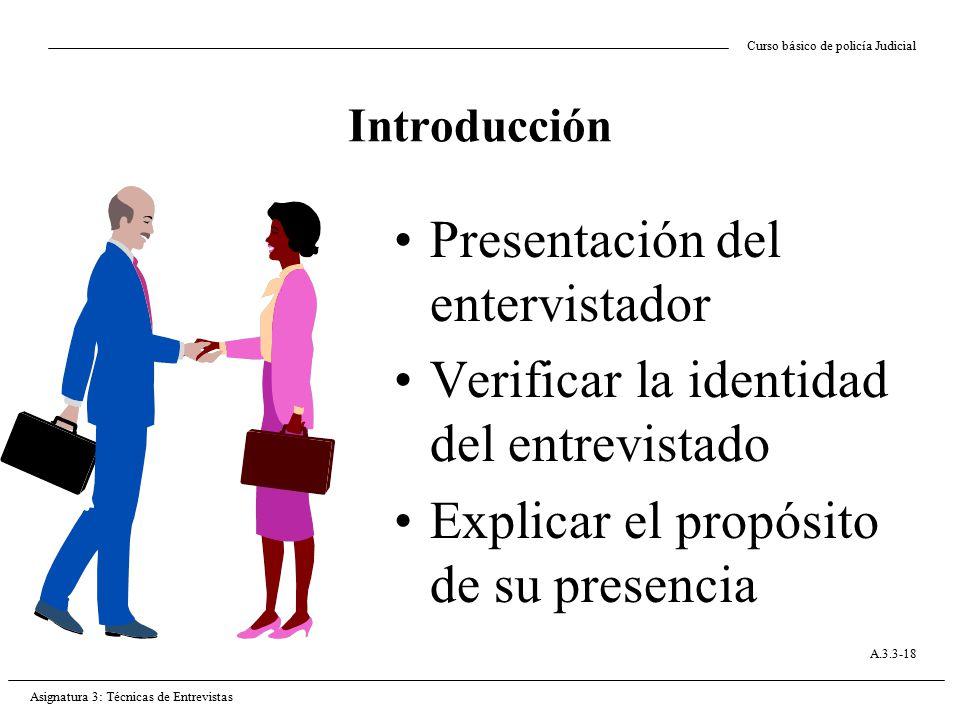 Presentación del entervistador Verificar la identidad del entrevistado