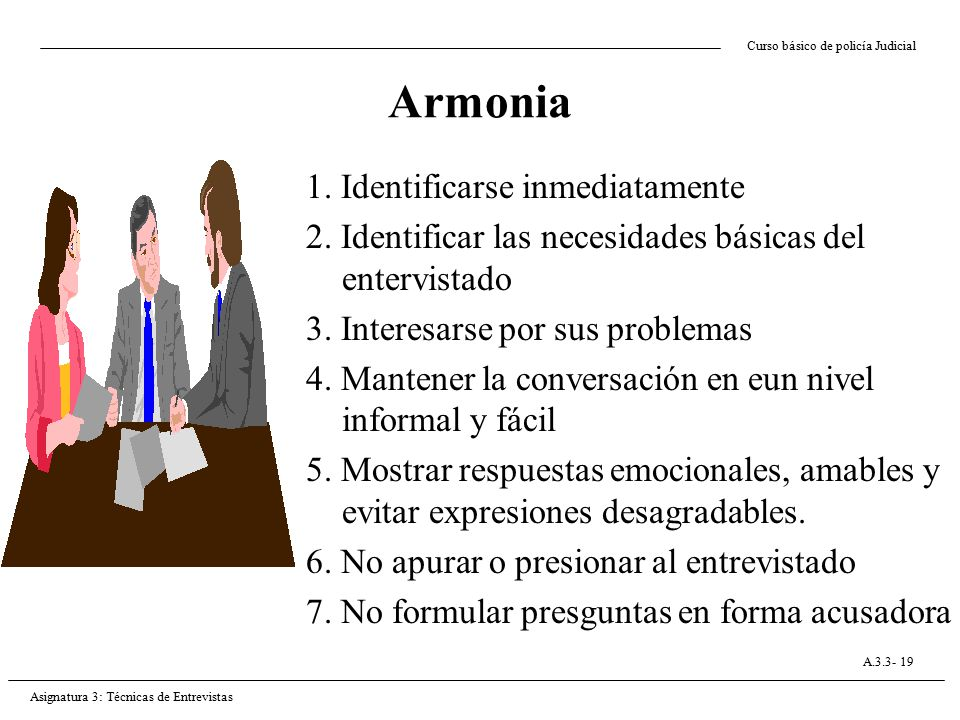 Armonia 1. Identificarse inmediatamente