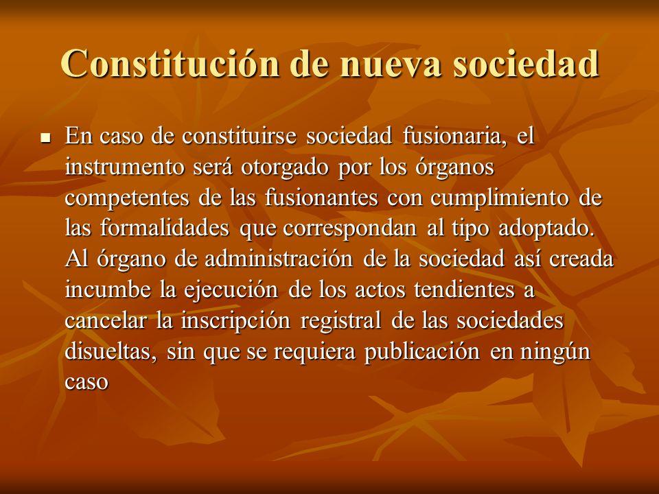 Constitución de nueva sociedad