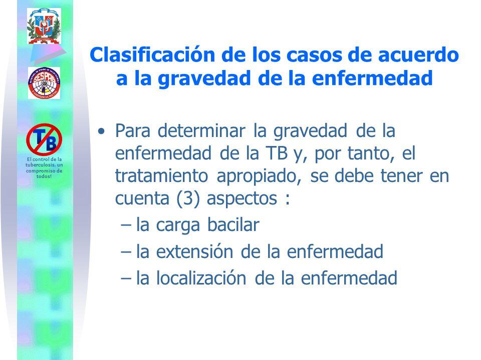 Clasificación de los casos de acuerdo a la gravedad de la enfermedad