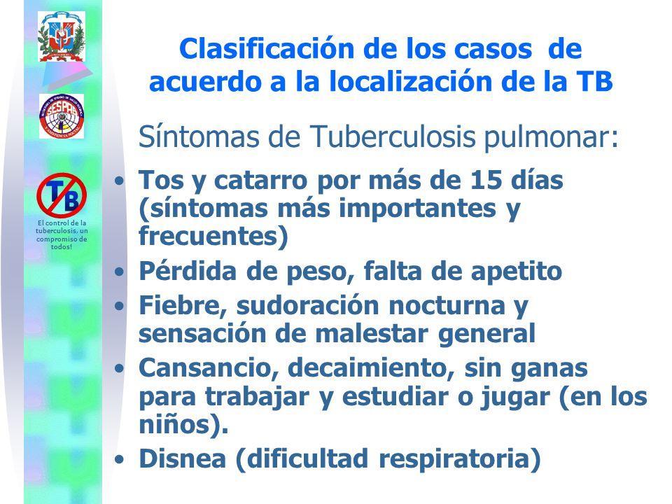 Síntomas de Tuberculosis pulmonar: