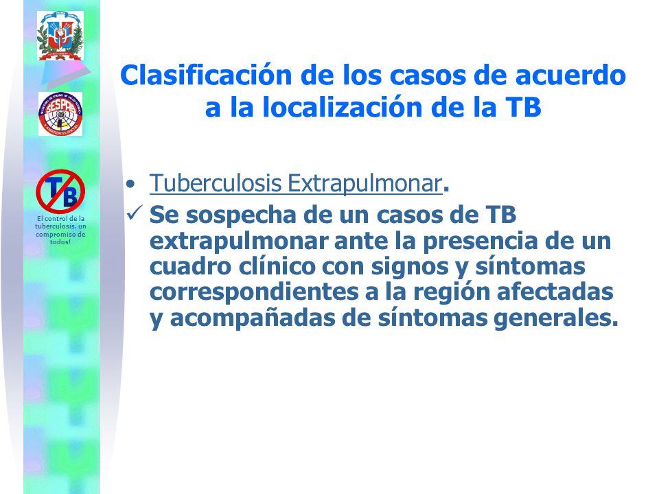 Clasificación de los casos de acuerdo a la localización de la TB