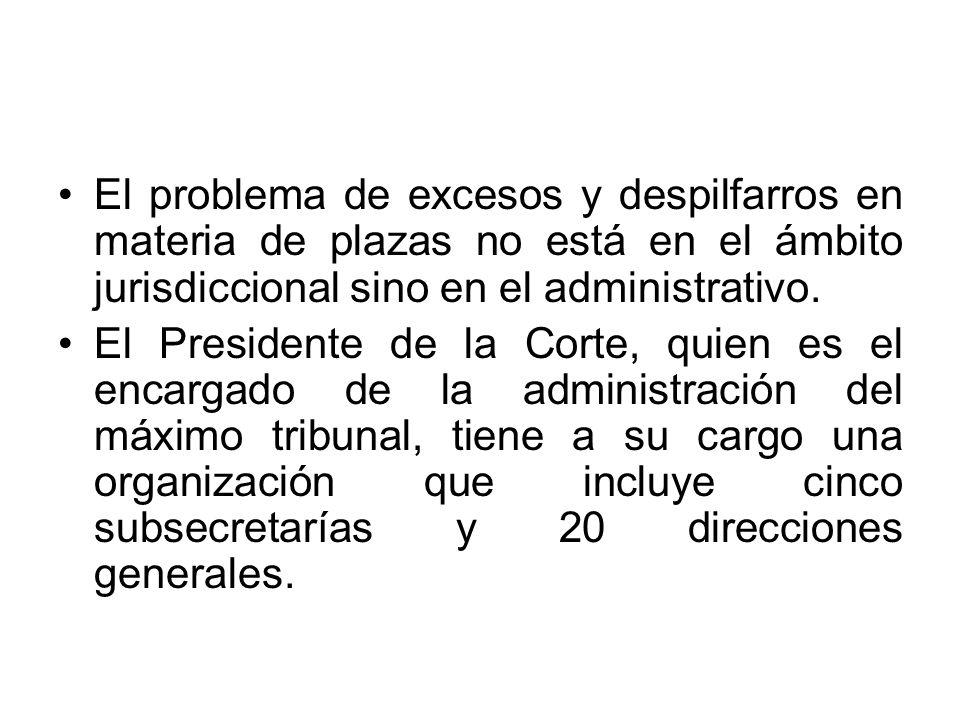 El problema de excesos y despilfarros en materia de plazas no está en el ámbito jurisdiccional sino en el administrativo.