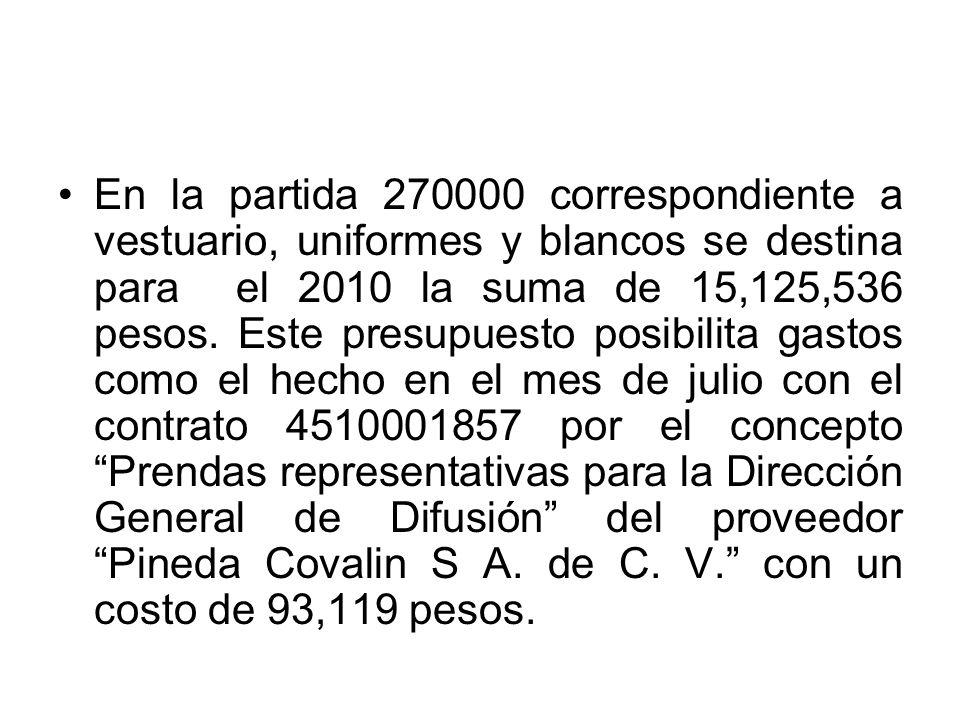 En la partida 270000 correspondiente a vestuario, uniformes y blancos se destina para el 2010 la suma de 15,125,536 pesos.