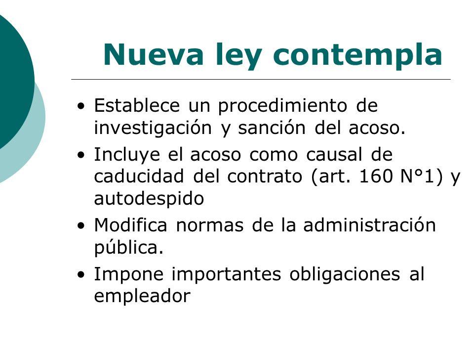 Nueva ley contemplaEstablece un procedimiento de investigación y sanción del acoso.