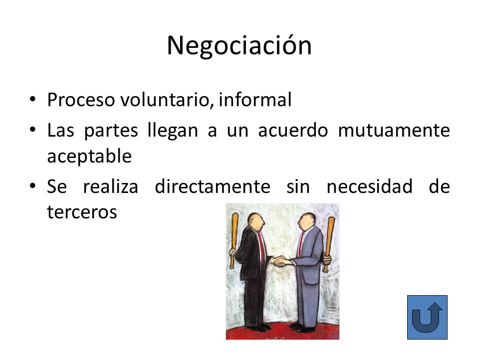 Negociación Proceso voluntario, informal