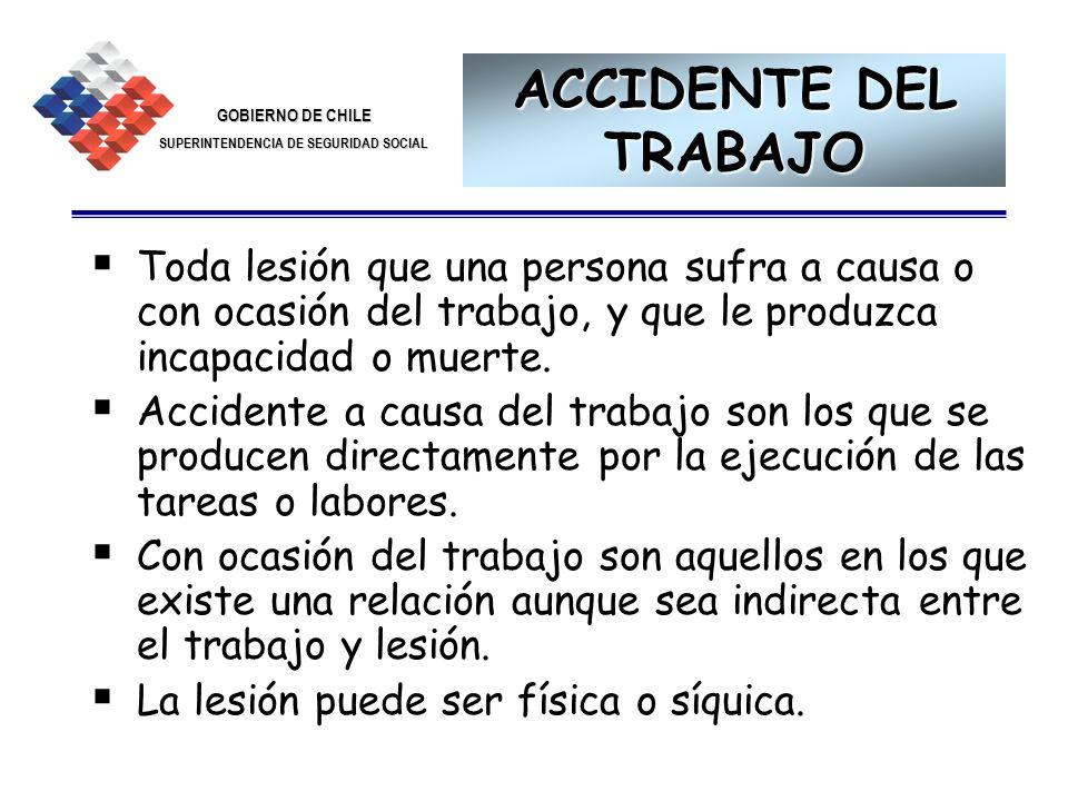 ACCIDENTE DEL TRABAJO Toda lesión que una persona sufra a causa o con ocasión del trabajo, y que le produzca incapacidad o muerte.