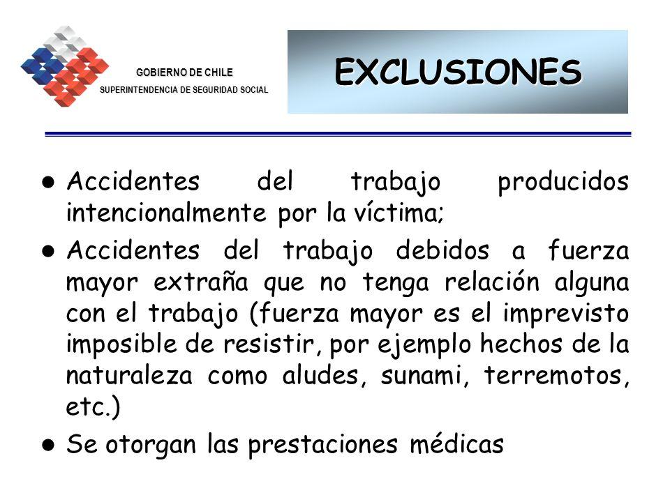 EXCLUSIONES Accidentes del trabajo producidos intencionalmente por la víctima;
